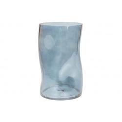 Ваза стеклянная Волна, 25см, цвет - голубой